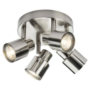 Brushed Chrome 4 Light Round Spotlight Fitting - Fitting Only