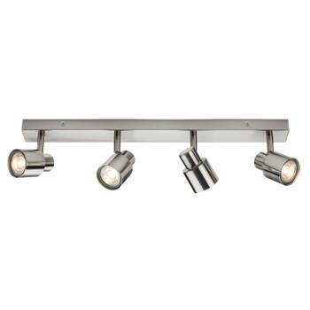 Brushed Chrome 4 Light Bar Spotlight Fitting - Fitting Only