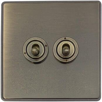 Screwless Antique Brass Toggle Switch - 2 Gang 2 Way Double