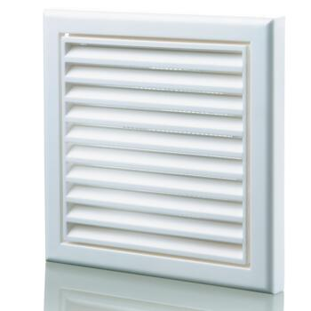 """White Vent Grille Fixed Louvre - 4"""" 100mm"""