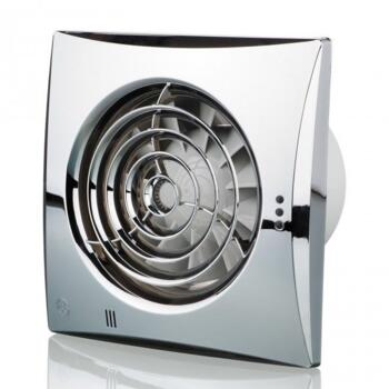"""Chrome Quiet Extractor Fan 4"""" 100mm - With timer function"""