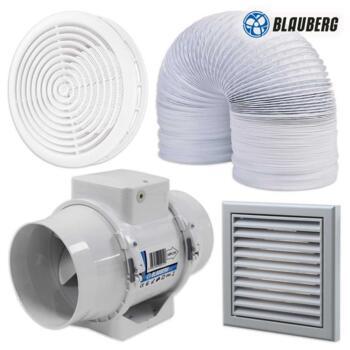 "Turbo Inline Shower fan kit 4"" 100mm 187m3/hr - 4' Timer Kit With White Internal Grille"