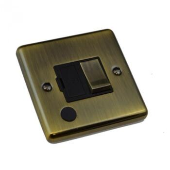 Antique Brass 13A Fused Spur  - 13A Switched with Flex Out