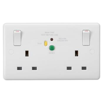 White 13A Double RCD Socket - 2 Gang DP - Pack of 1