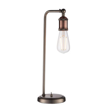 Industrial Table Light With Switch Aged Pewter And Copper - Table light