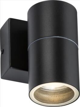 Matt Black IP54 GU10 Fixed single wall Light - OWALL1BK