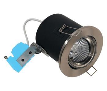 Polished Chrome Fire-Rated Tilt Downlight IP20 - 12V MR16 Low Voltage