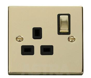 Polished Brass Single Socket -Ingot 1Gang Switched - With Black Interior