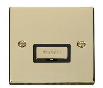 Polished Brass Unswitched Fused Spur 13A Ingot - With Black Interior
