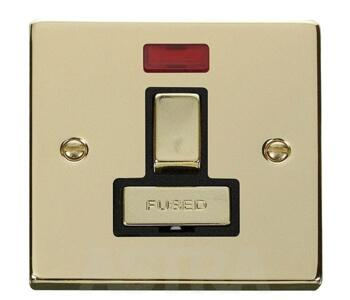 Polished Brass Switched Fused Spur 13A/Neon Ingot - With Black Interior
