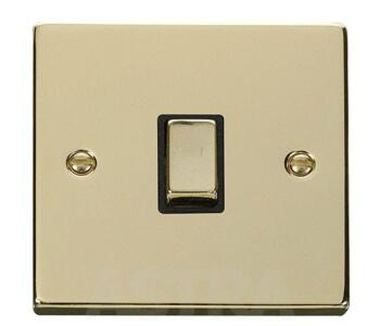 Polished Brass 20A DP Switch - No Flex Out Ingot - With Black Interior