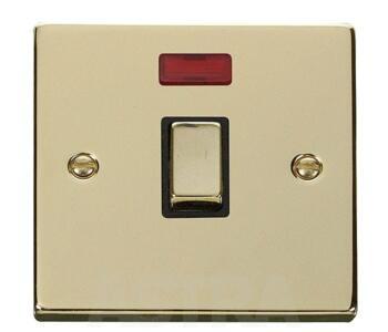 Polished Brass 20A DP Switch/Neon -No Flex Ingot - With Black Interior