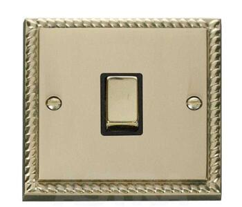 Georgian Brass 20A DP Switch - No Flex Out Ingot - With Black Interior