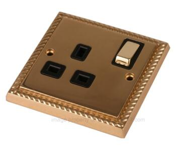 Georgian Brass Single Socket -Ingot 1Gang Switched - With Black Interior