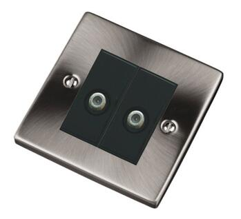 Pearl Nickel Double Satellite Socket Outlet - With Black Interior