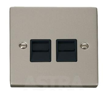 Pearl Nickel Double Telephone Socket -  Master - With Black Interior
