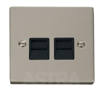 Pearl Nickel Double Telephone Socket Secondary - With Black Interior