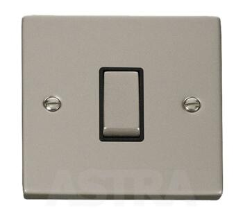 Pearl Nickel Intermediate Switch - 1 Gang - With Black Interior
