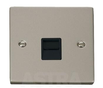 Pearl Nickel Telephone Socket - Single Master - With Black Interior