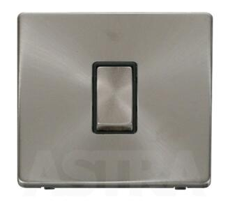 Screwless Brushed Steel Light Switch Intermediate - With Black Interior