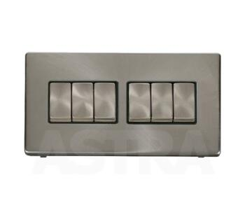 Screwless Brushed Steel Light Switch 6 Gang Ingot - With Black Interior