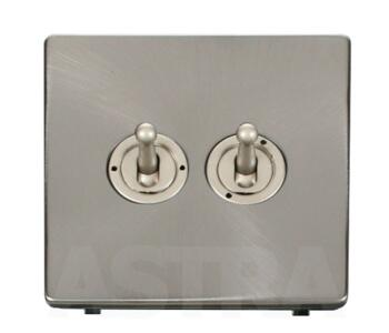 Screwless Brushed Steel Light Switch Double Toggle - Pearl Nickel Toggle with Brushed Steel Plate