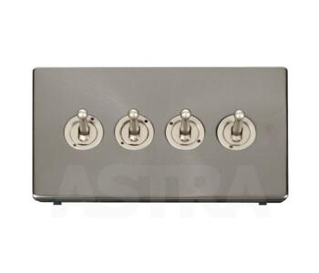 Screwless Brushed Steel Light Switch 4 Gang Toggle - Pearl Nickel Toggle with Brushed Steel Plate