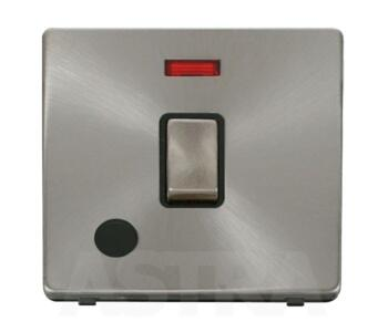 Screwless Brushed Steel 20ADP Switch/Neon Flex Out - With Black Interior
