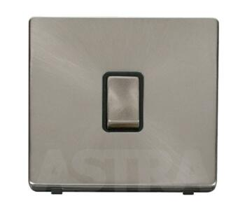 Screwless Brushed Steel 20A DP Switch No Flex Out - With Black Interior