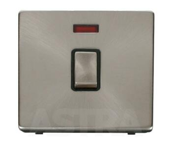 Screwless Brushed Steel 20A DP Switch/Neon No Flex - With Black Interior