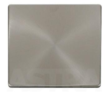 Screwless Brushed Steel Blank Plate Single 1 Gang - With Black Plate Insert