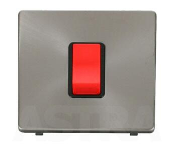 Screwless Brushed Steel 45A DP Isolator Switch - With Black Interior