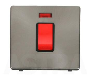 Screwless Brushed Steel 45ADP Isolator Switch/Neon - With Black Interior