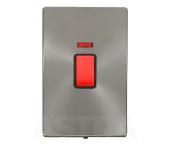 Screwless Brushed Steel 45ADP Switch/Neon Vertical - With Black Interior