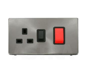 Screwless Brushed Steel Cooker Switch/Socket 45A - With Black Interior