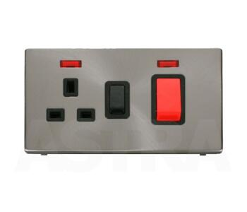 Screwless Brushed Steel Cooker Switch/Socket Neon - With Black Interior