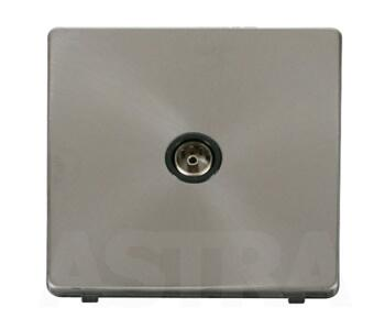 Screwless Brushed Steel Single TV Socket Outlet - With Black Interior