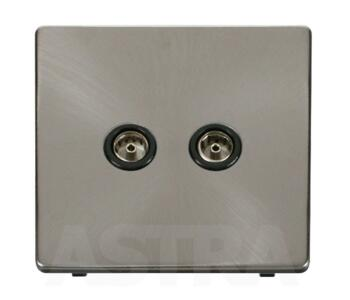 Screwless Brushed Steel Double TV Socket Outlet - With Black Interior