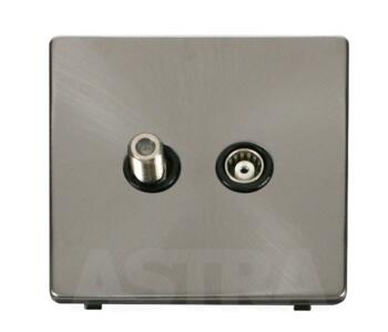 Screwless Brushed Steel Satellite & TV Socket - With Black Interior