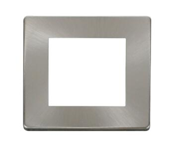 Screwless Brushed Steel Single Plate Twin Aperture - With Black Interior