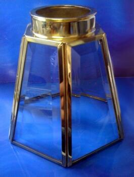 Ceiling Fan Shade - Concerto Bevelled Glass  - Concerto Glass / Brass Ceiling Fan Shade