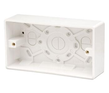 35mm 2 Gang Double Moulded Pattress Box - Double Backbox