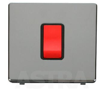 Screwless Chrome 45A DP Isolator Switch - With Black Interior