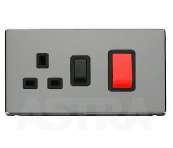 Screwless Chrome 45A DP Cooker Switch/Socket - With Black Interior