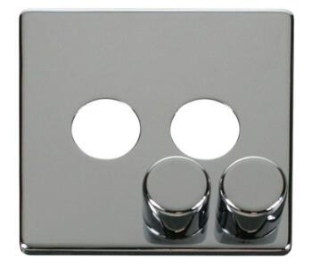 Screwless Chrome Dimmer Switch - Double 2 Gang - 250W