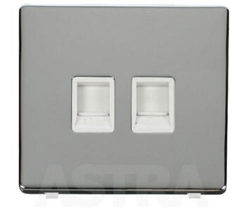 Screwless Chrome Double RJ45 Data Socket Outlet - With White Interior
