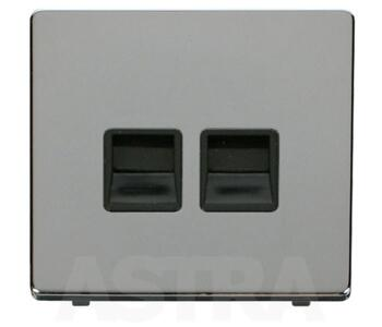 Screwless Chrome Double Telephone Master - With Black Interior