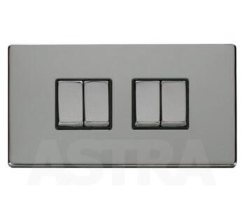 Screwless Chrome Light Switch 4 Gang 2 Way Ingot - With Black Interior