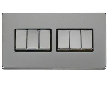 Screwless Chrome Light Switch 6 Gang Ingot - With Black Interior
