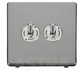 Screwless Chrome Light Switch Double Toggle 2 Gang - Chrome Toggle with Polished Chrome Plate